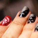 Roses, coeurs,gris,noir, holographique,QuicheGirl