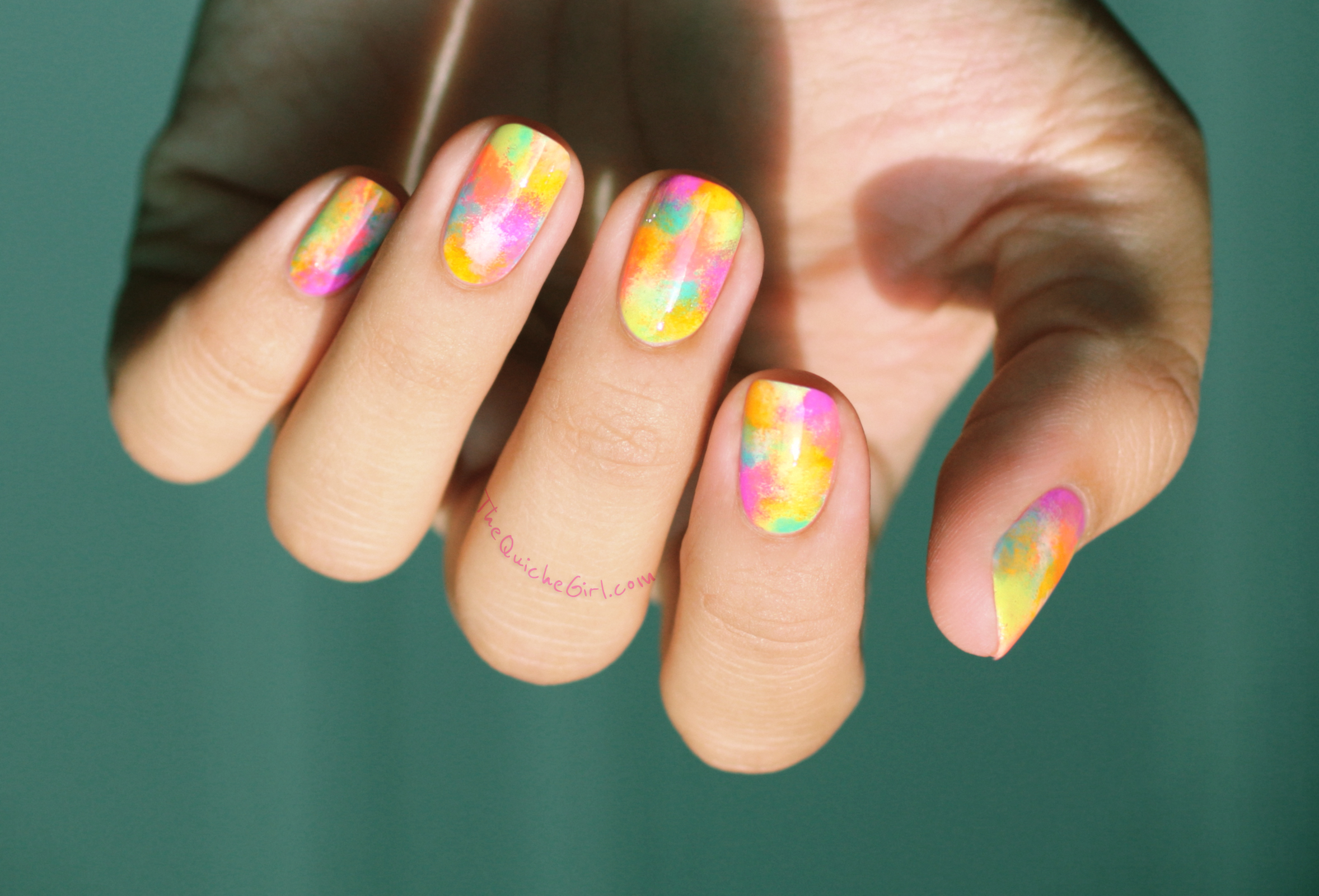 abstract, neon, eponge, OPI, China Glaze, QuicheGirl