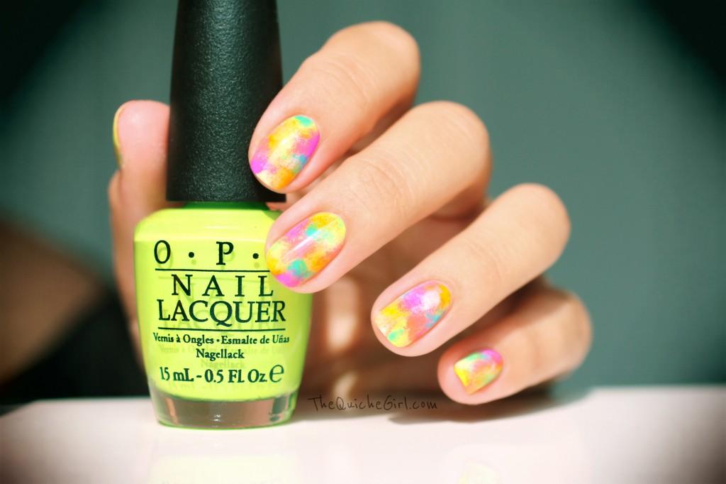 eponge, abstract, neon, china glaze, opi, quichegirl