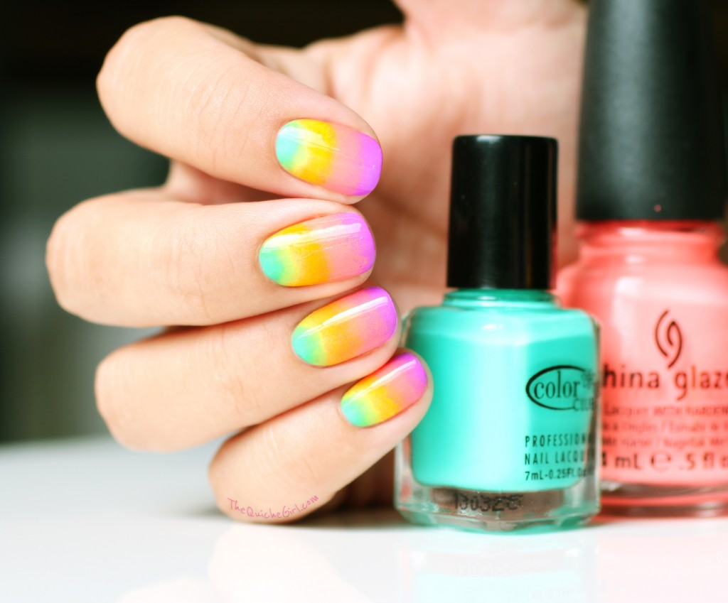 eponge, gradient, neon, china glaze, opi, quichegirl