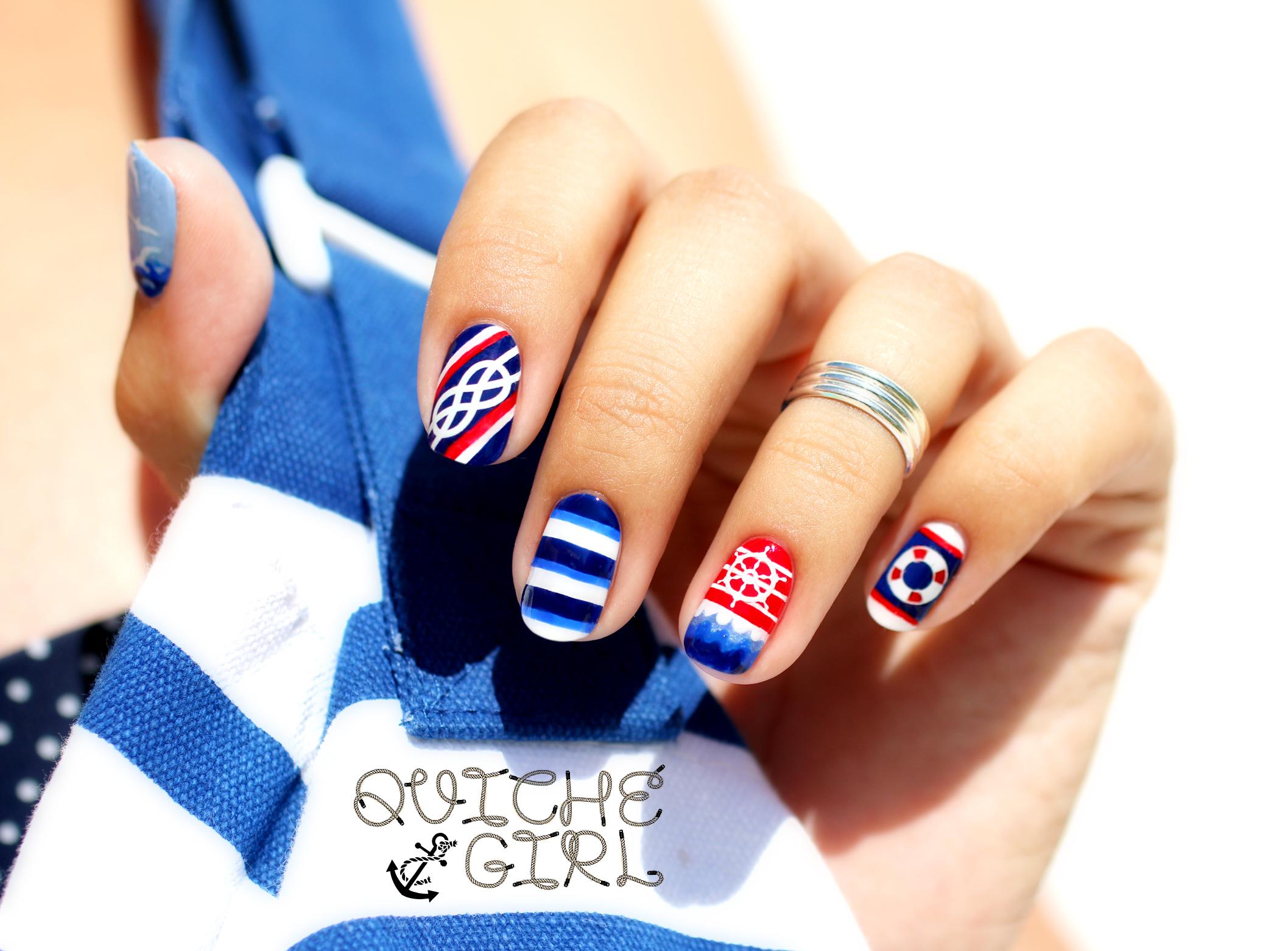 marine, corde,bouée,rayures, rouge, bleu, rare nail, QuicheGirl