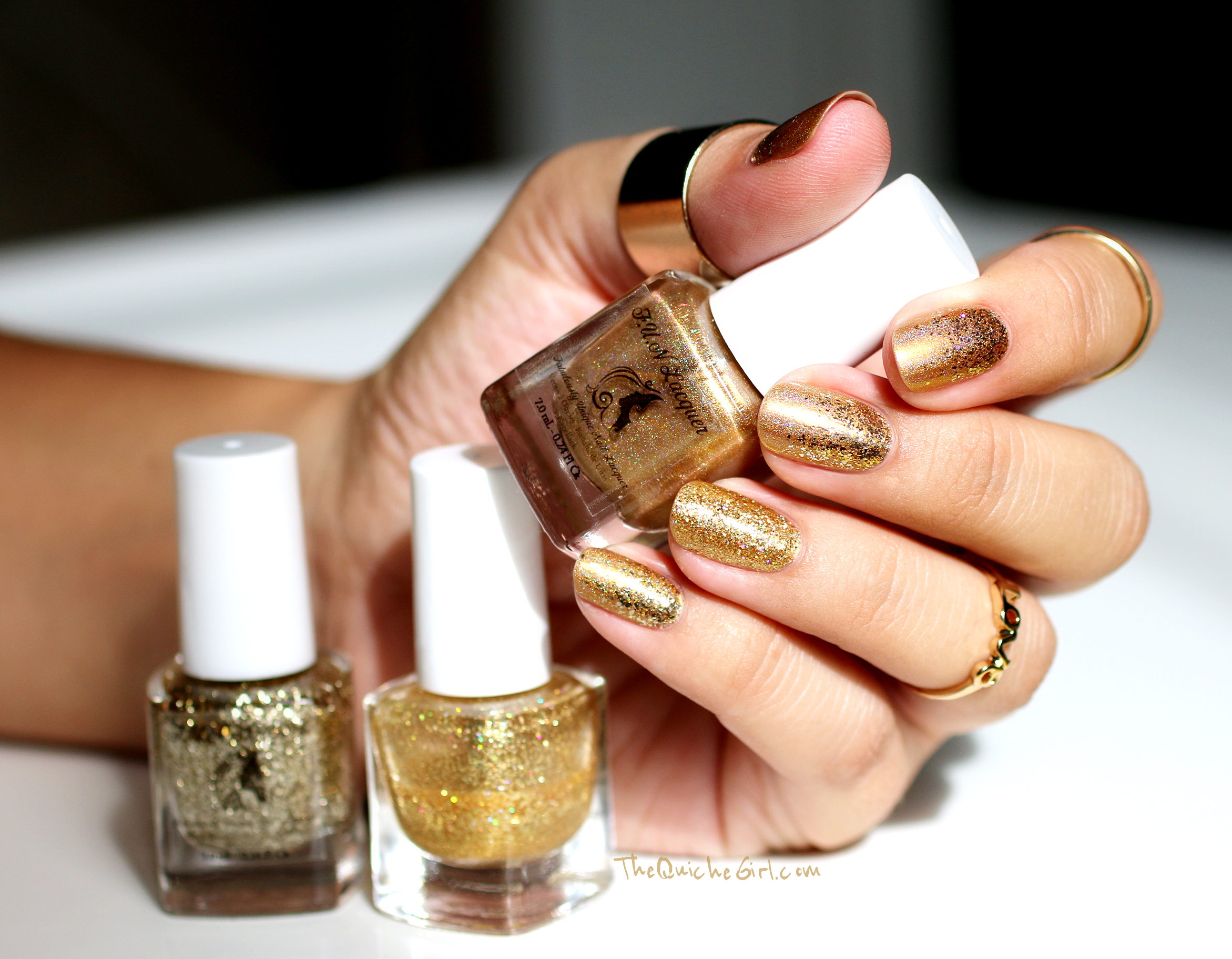 Fun Lacquer, gold, honey bear, Belle, pay day Quichegirl