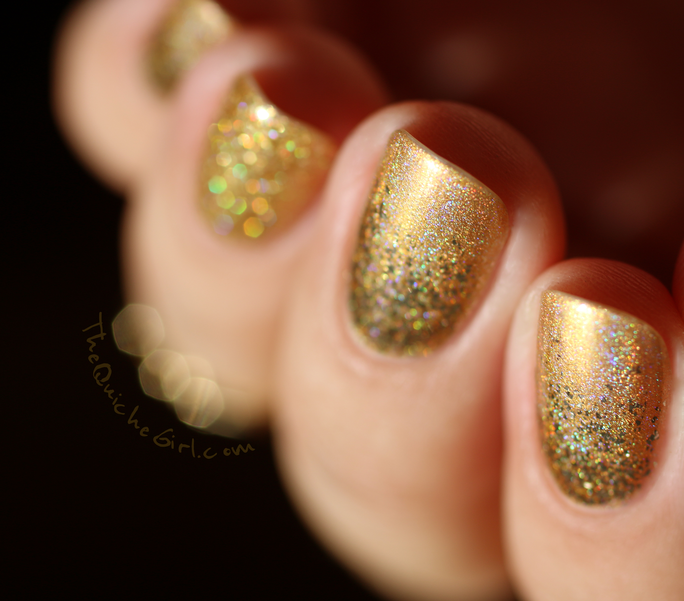 Fun Lacquer, or, gold, honey bear, pay day, Belle, QuicheGirl