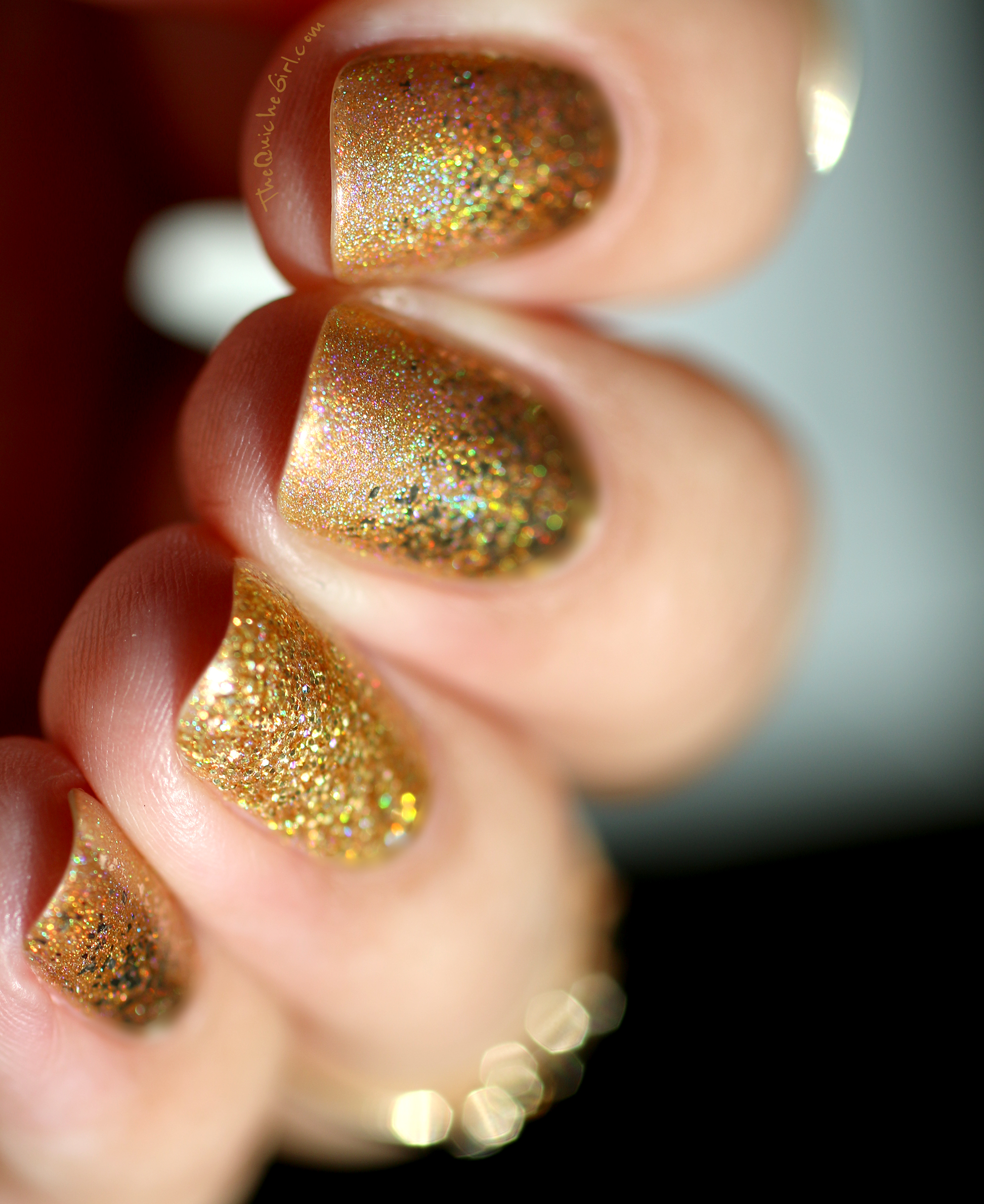 Or, Gold, Fun Lacquer, Nailstorming, macro, QuicheGirl