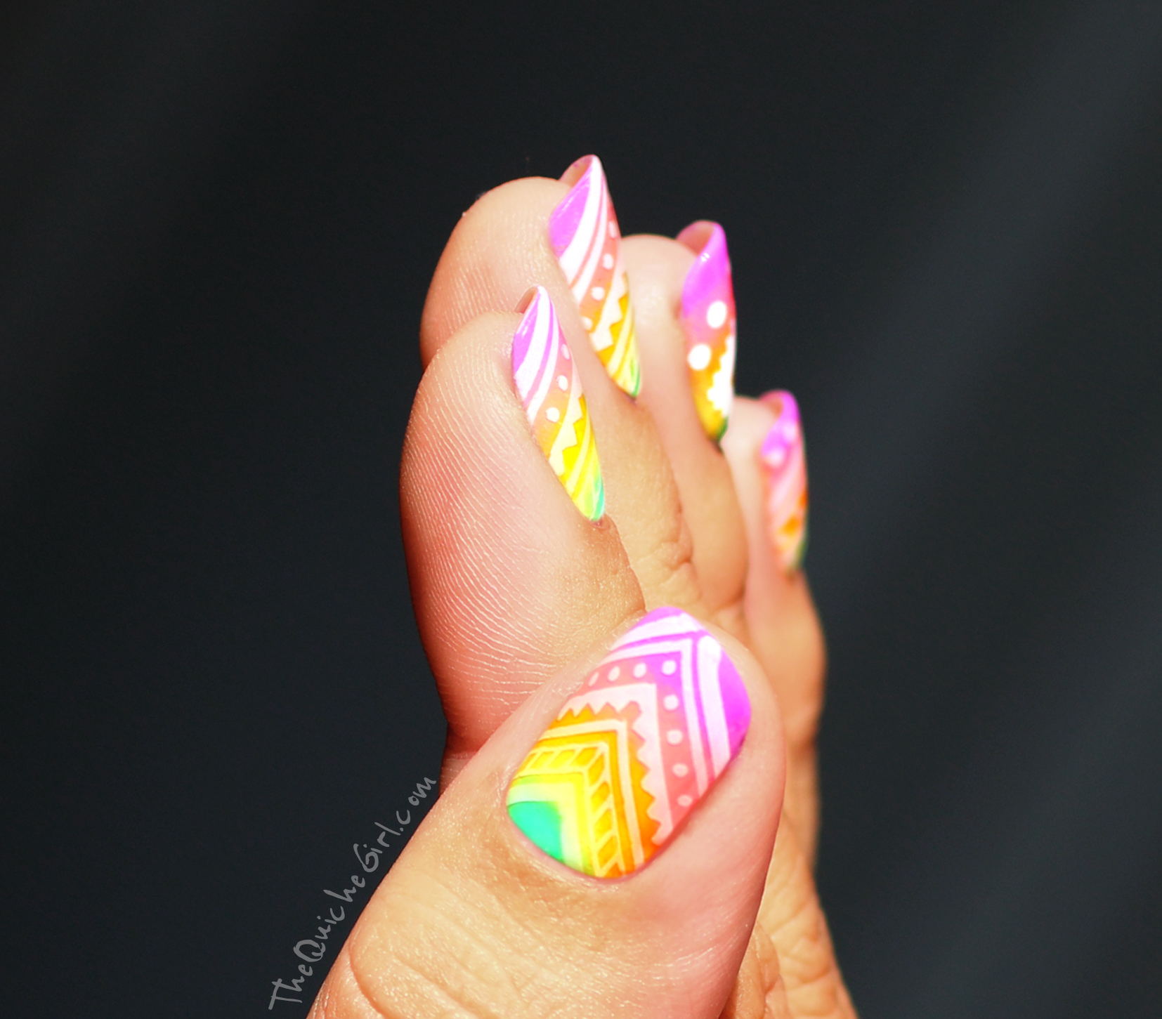 Pouce, azteque, gradient, neon, stamping, China Glaze, QuicheGirl
