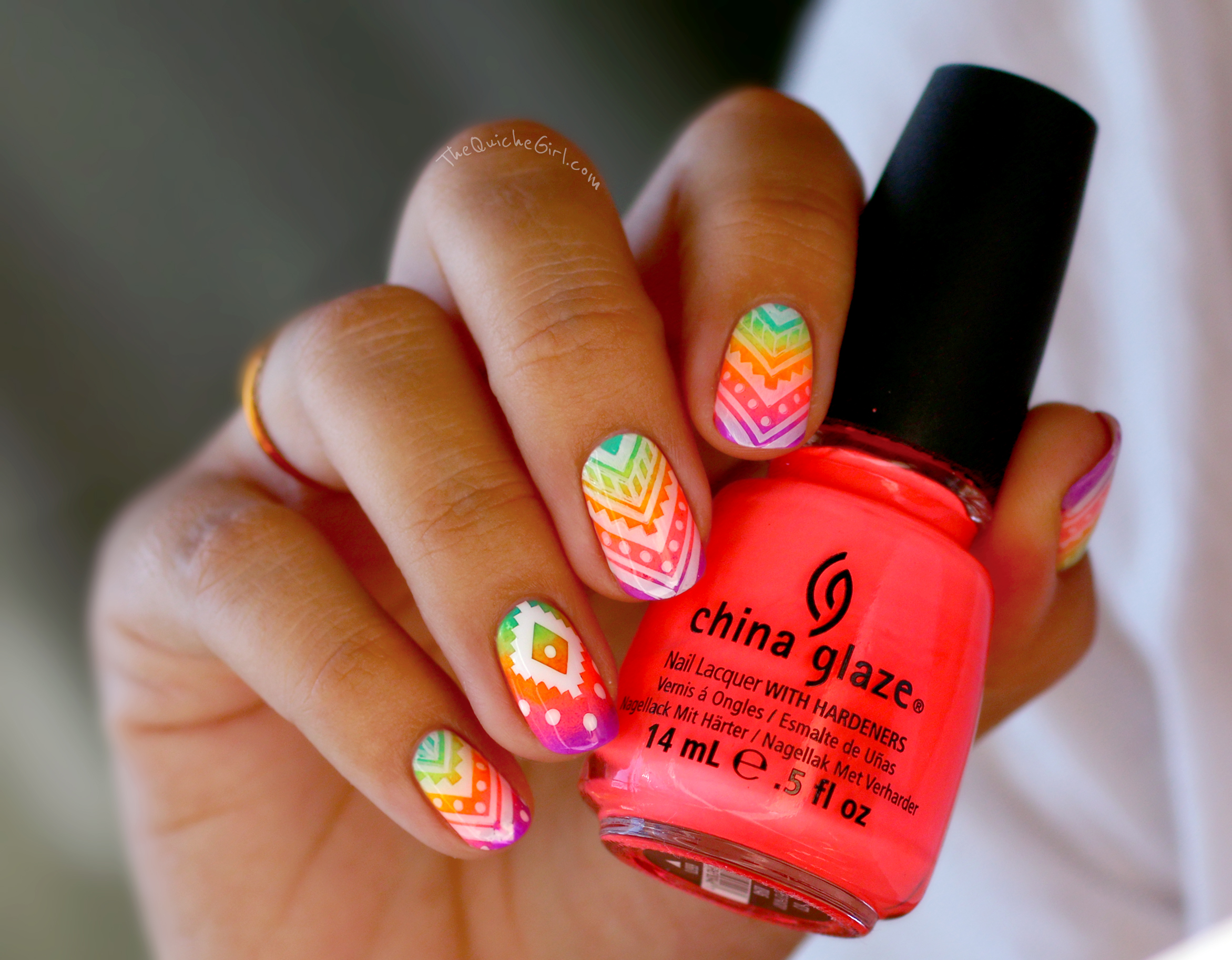 azteque, gradient, neon, China Glaze, QuicheGirl