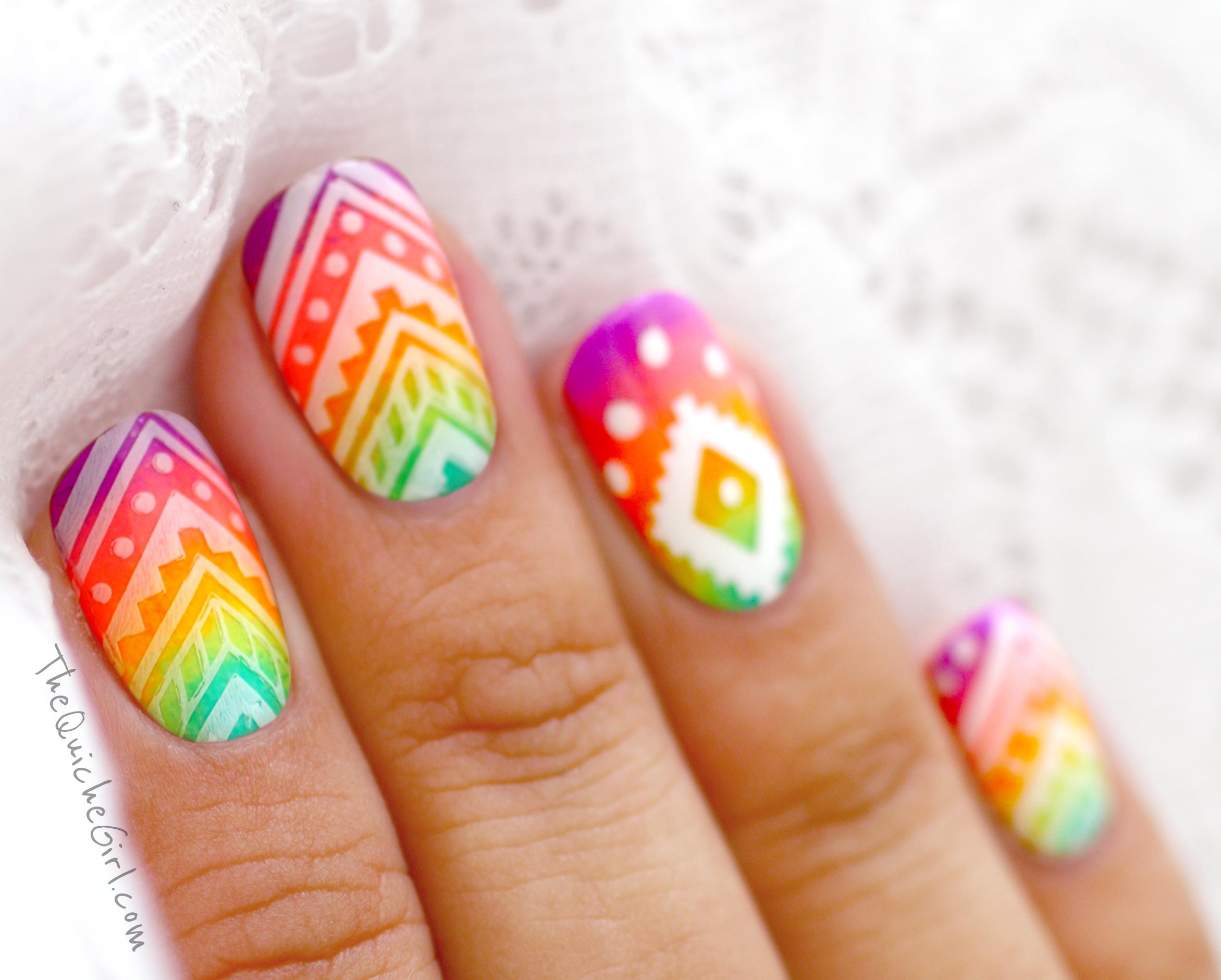 azteque, gradient, neon, China Glaze,stamping, topatopa QuicheGirl