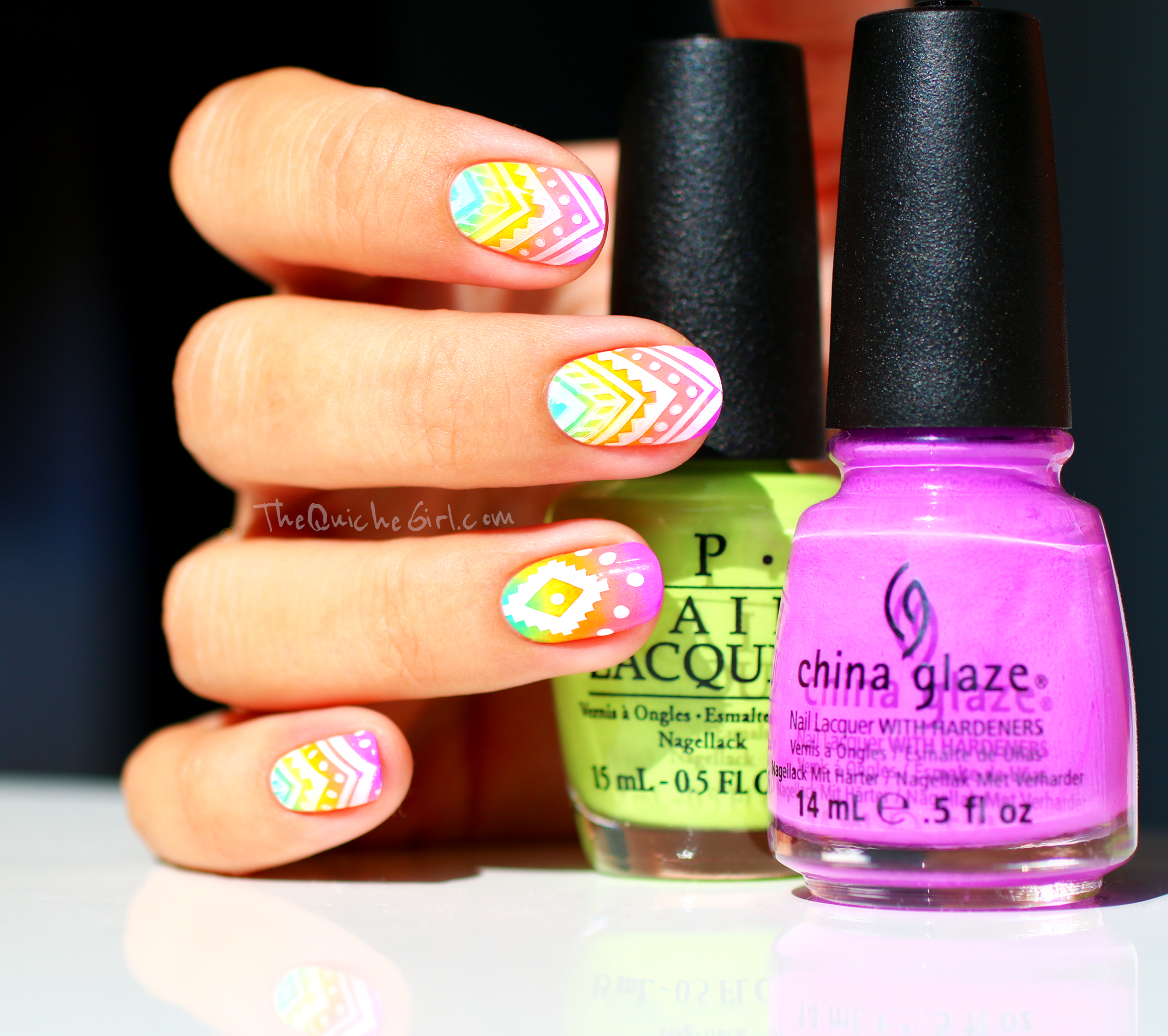 azteque, gradient, neon, stamping, China Glaze, QuicheGirl