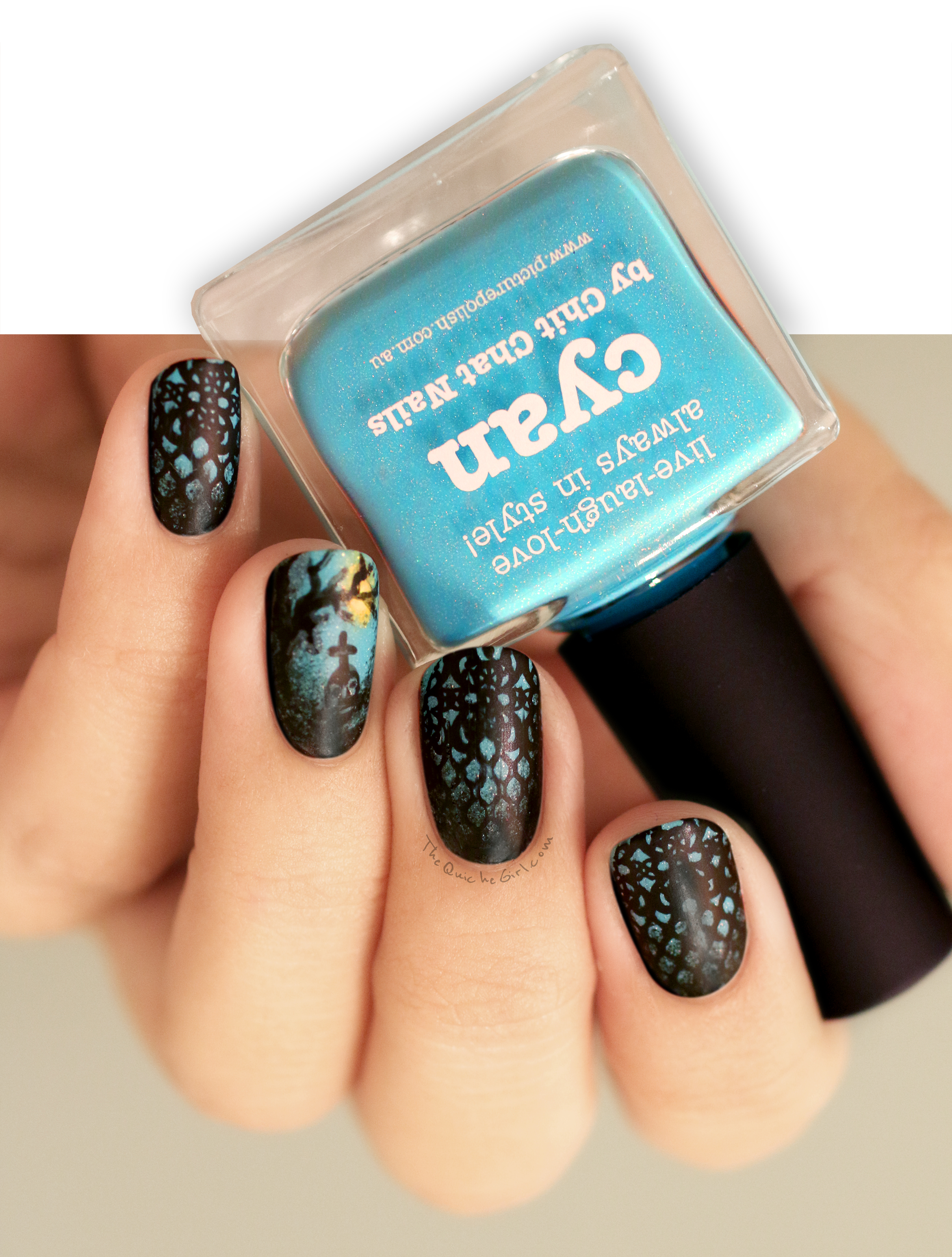 Cyan, Picture Polish, Halloween, cimetery, dentelles, QuicheGirl