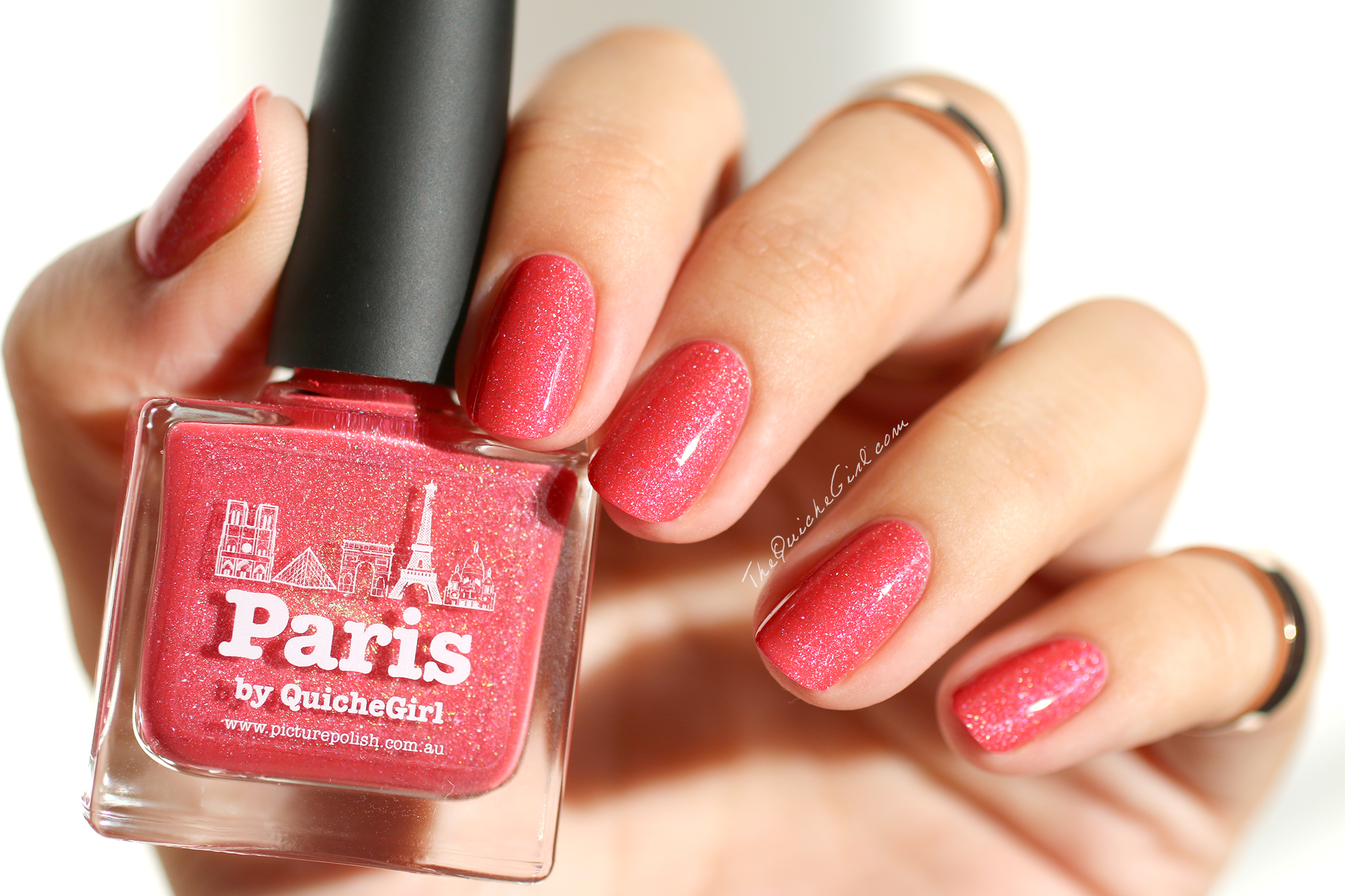 Paris, Coral, jelly scatter holo, Picture Polish, QUicheGirl