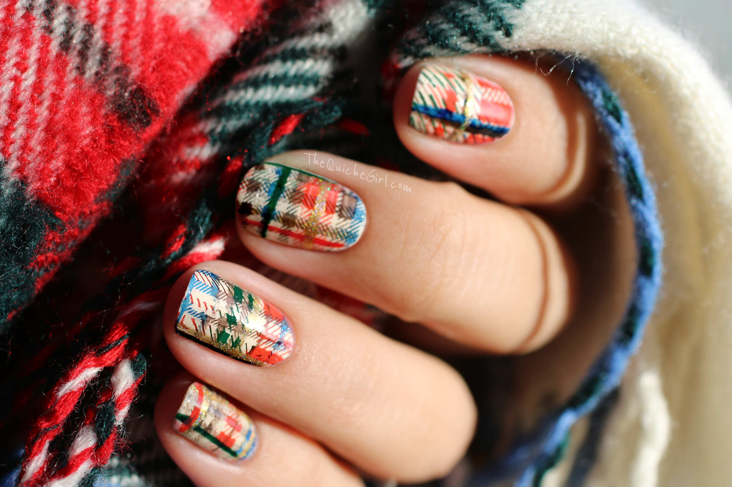 tartan, nailstorming, moyou,sunlight, NCLA, Essie, Model Own, QuicheGirl