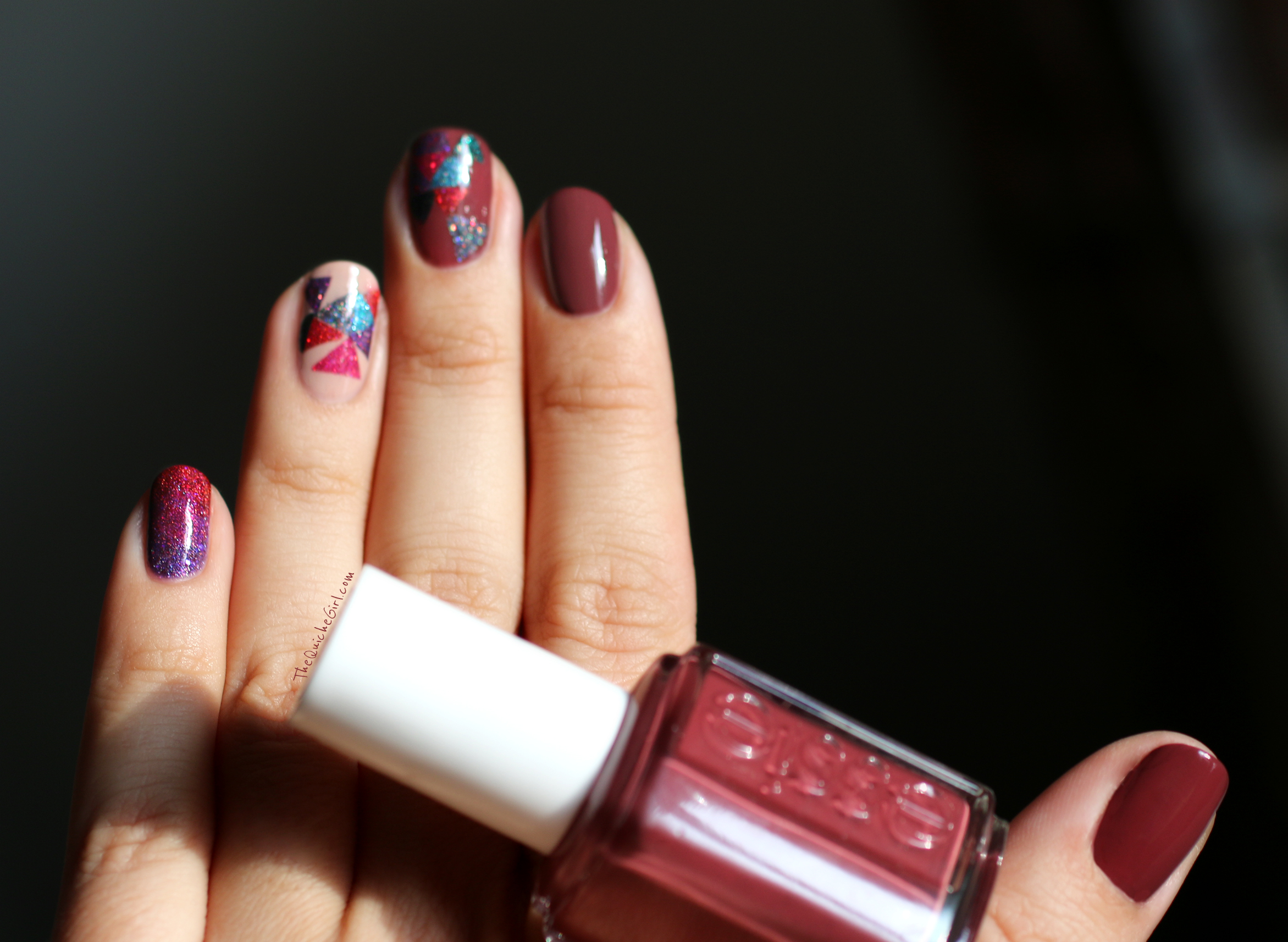 Marsala, Triangles, Glam polish, angora cardi, Essie,spin in the bottle, QuicheGirl