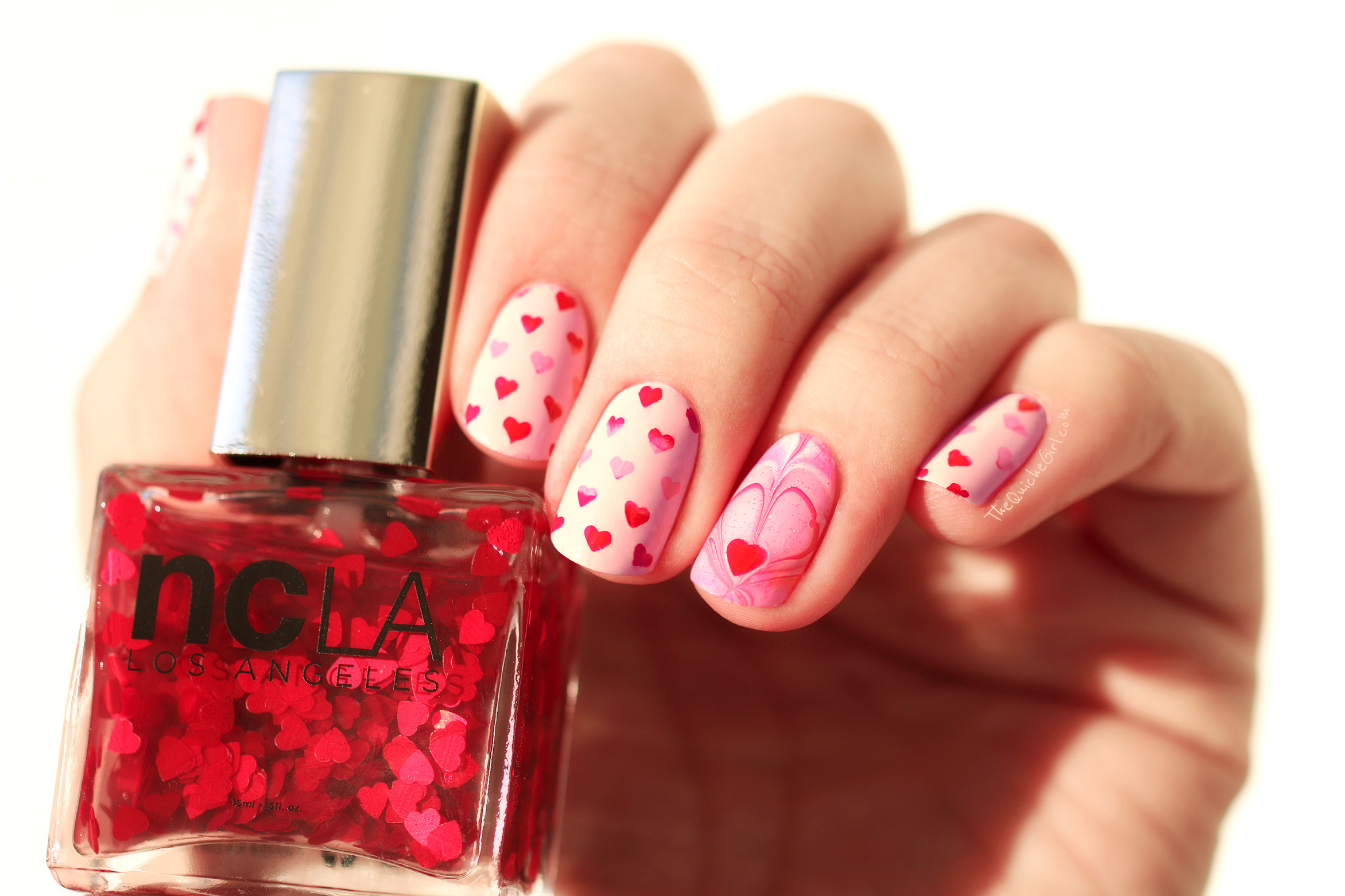 St Valentin, stamping, NCLA, Picture Polish, rose,watermarble, QuicheGirl