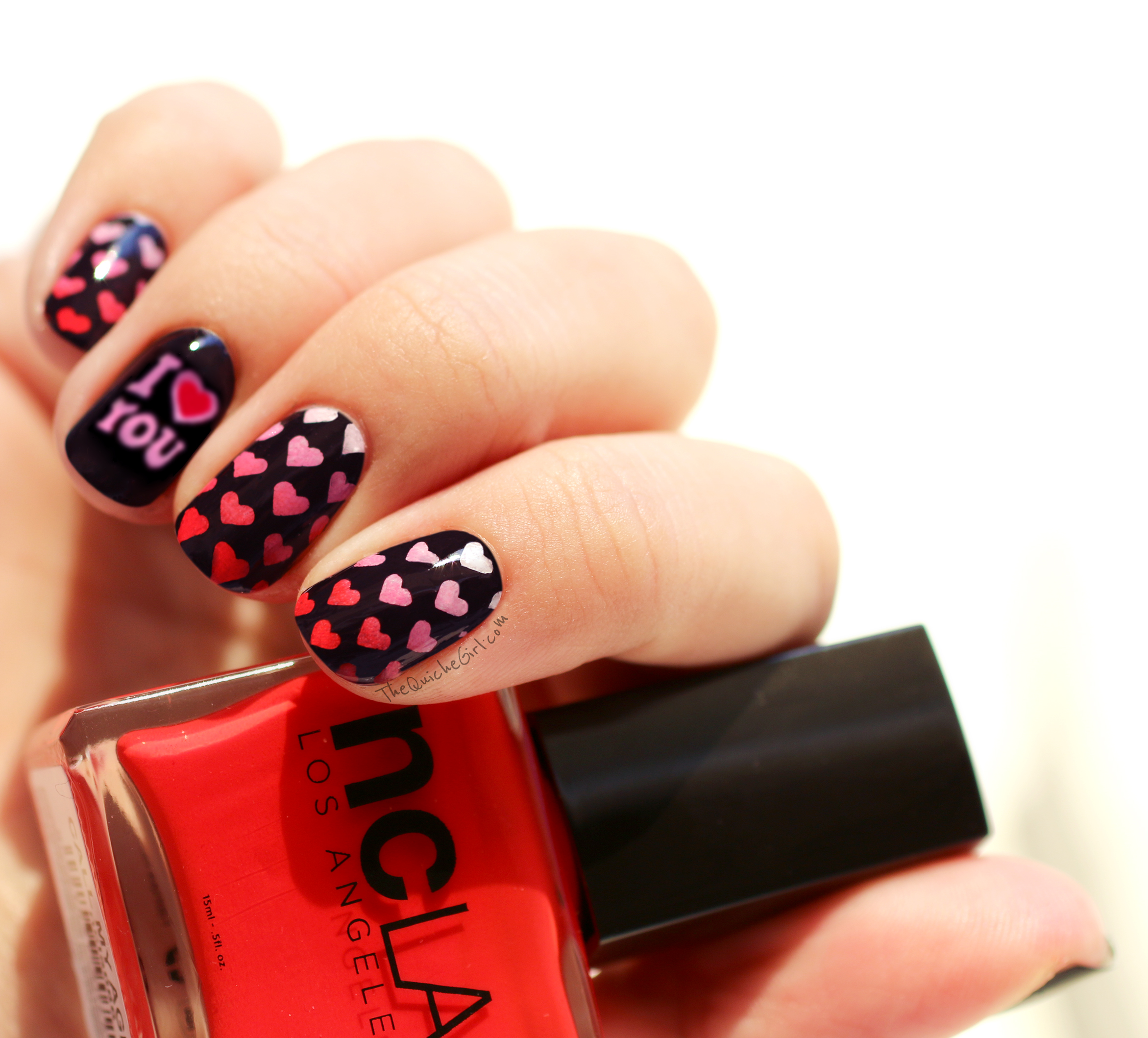St Valentin, stamping, NCLA,call my agent, Picture Polish, rose,watermarble, QuicheGirl