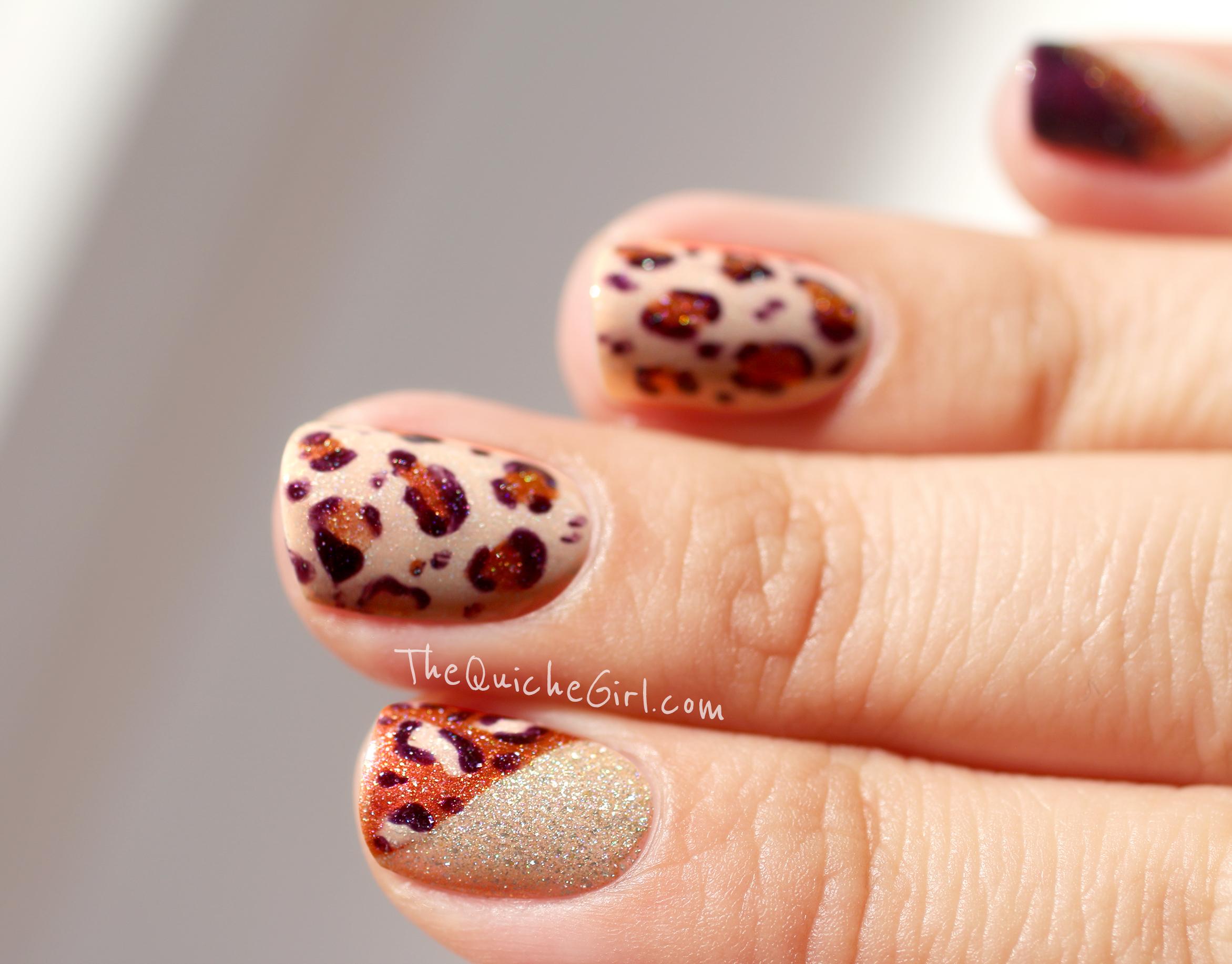 nail art, leopard, macro