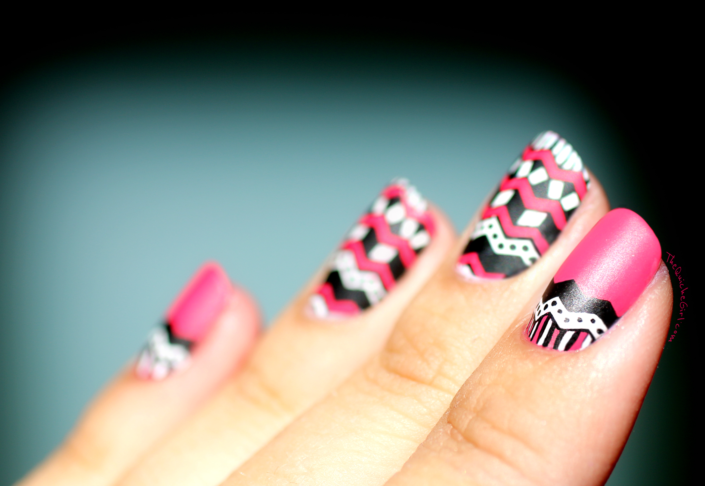 chevrons, nailstorming, reverse stamping, peggy sage, rebellious flower,BM 402, QuicheGirl